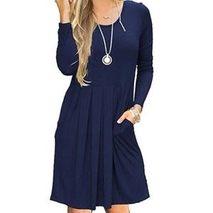 Pleated loose swing casual dress with pockets, NWT